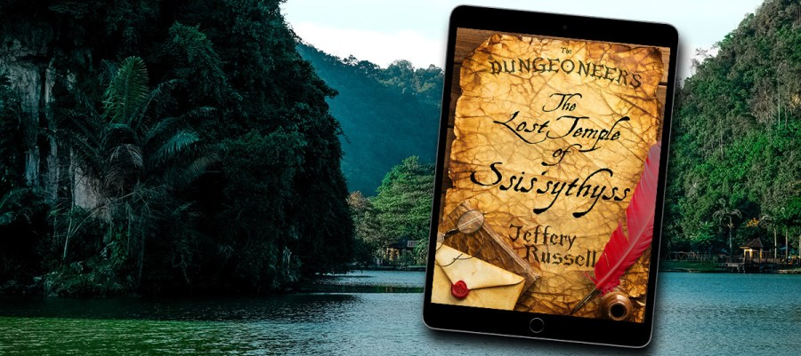 An iPad with The Dungeoneers Book 3 over a jungle background.