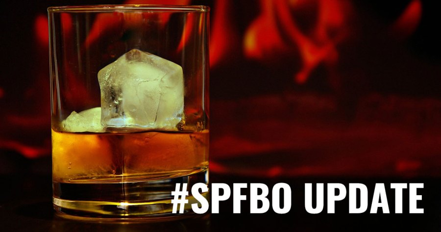 "Image of a glass of whiskey, with text ""SPFBO Update"""