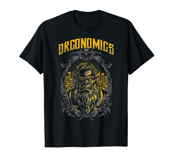 Orconomics T-Shirt with an Orc and Gold Coins
