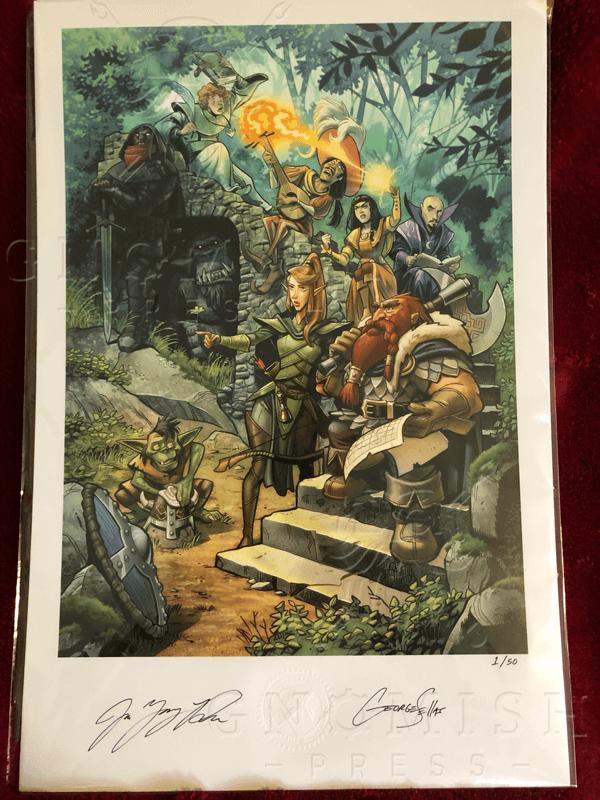 A signed print of Gorm, Kaitha, Jynn, Laruna, Heraldin, Niln, Gaist, Thane, and Gleebek