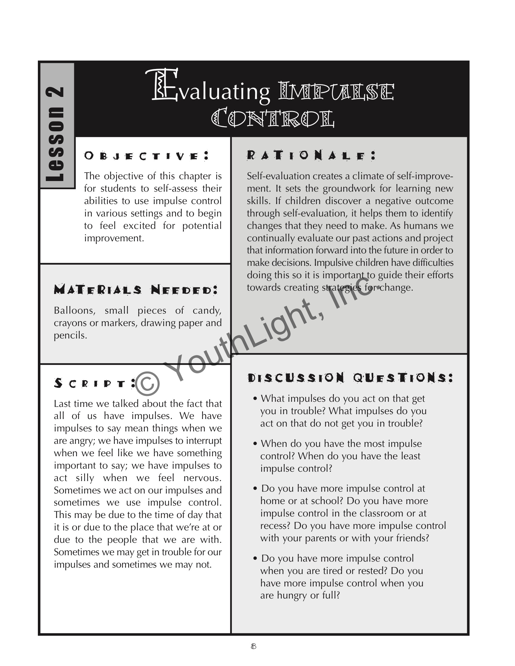 Impulse Control Activities Amp Worksheets For Elementary