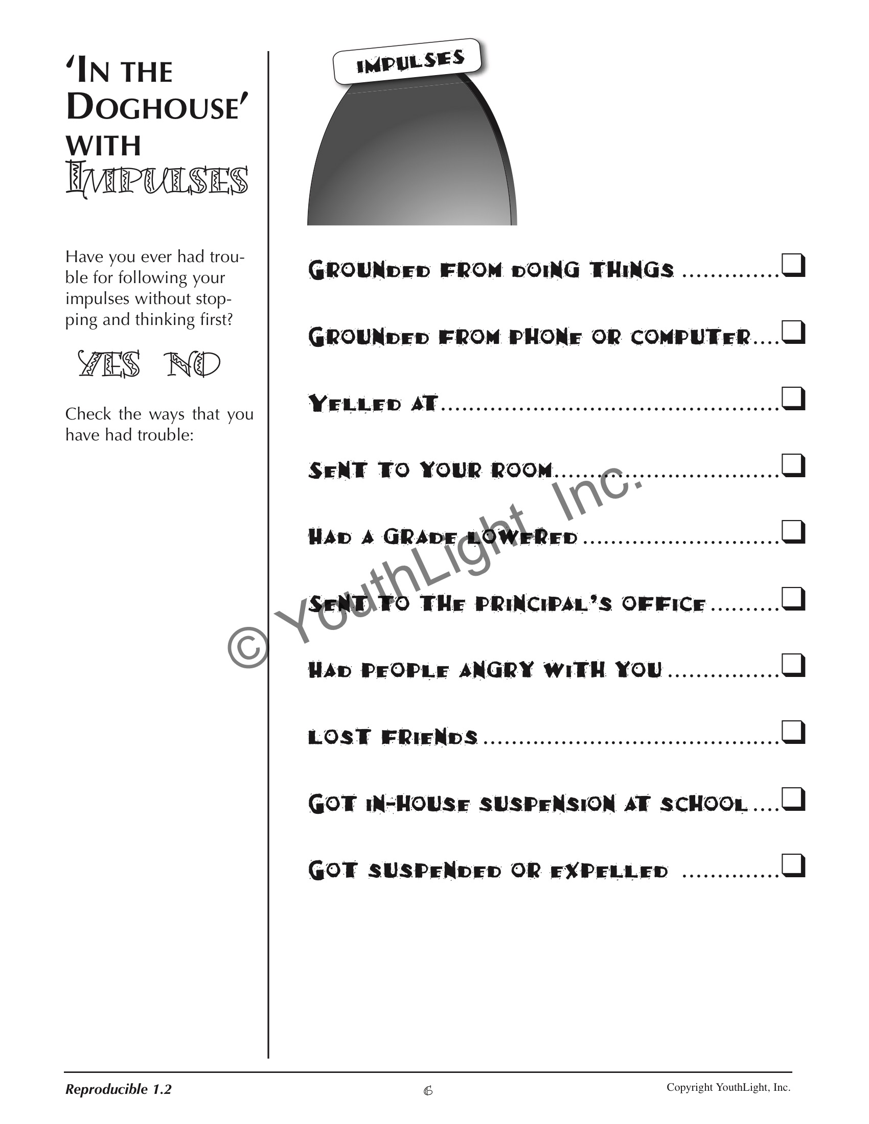 Impulse Control Activities Amp Worksheets For Middle School Students With Cd By Tonia Caselman And