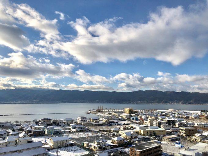 下諏訪町 初雪