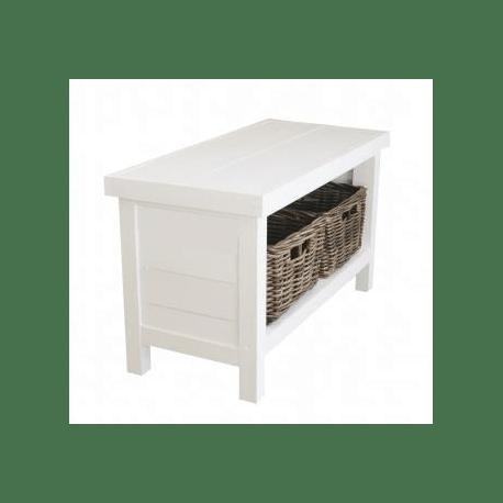 banc en bois blanc andrew white little bench