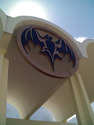 Bat (murciélago) medallion over the arched ent...