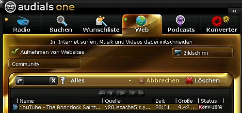 audials web video mitschnitt