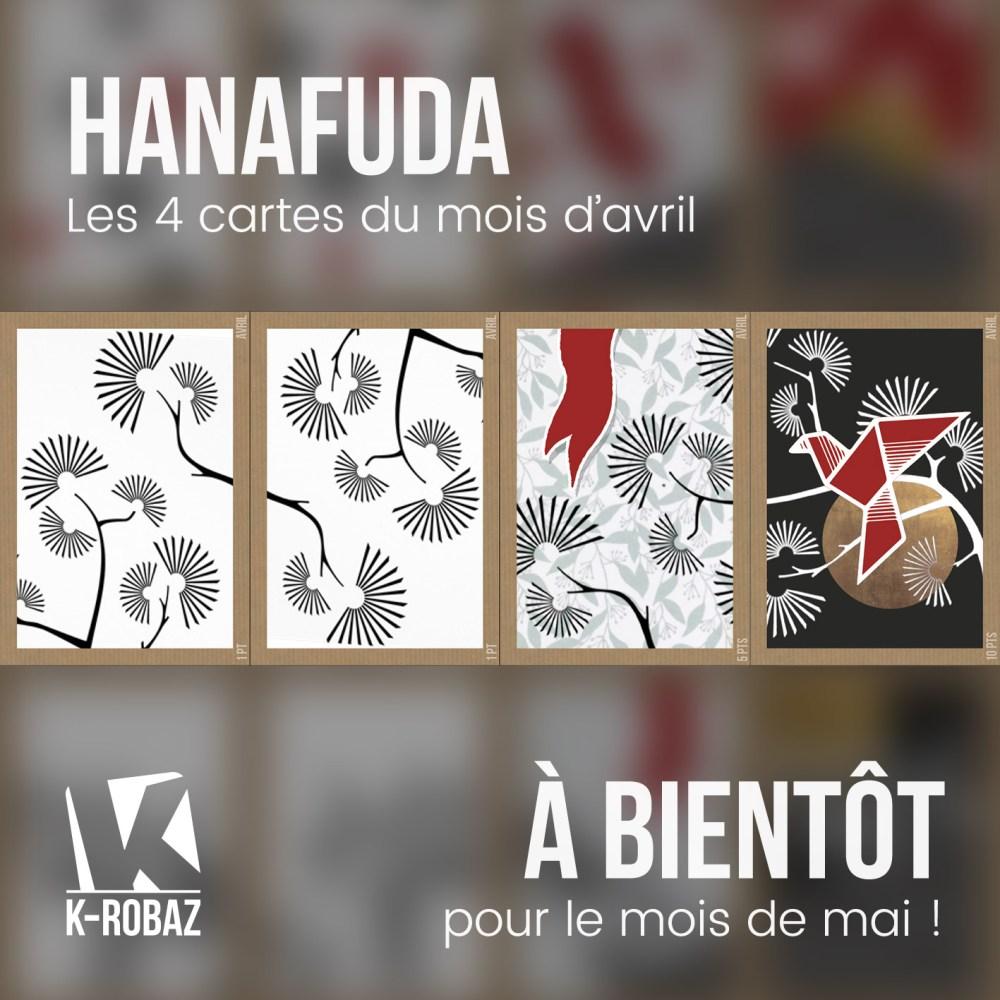 Jeu de carte Hanafuda : les 4 cartes du mois d'avril