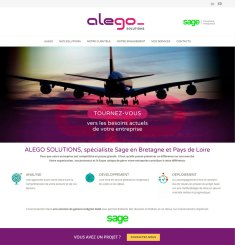 Page d'accueil du site wordpress Alego