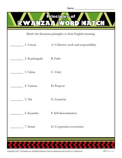 Principles Of Kwanzaa Word Match Activity