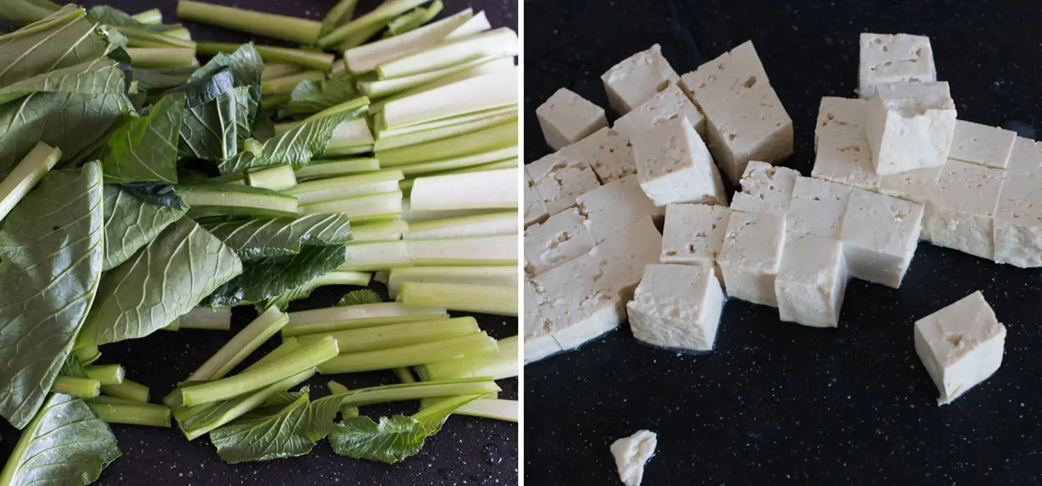 Choy sum (Chinese green) and tofu in garlic sauce 2