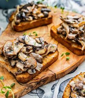 Creamy coconut wild mushrooms toast