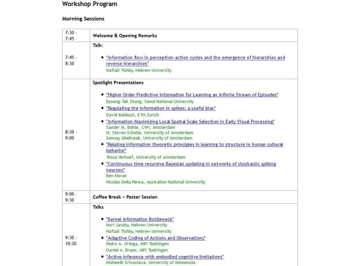 Information in Perception and Action Workshop