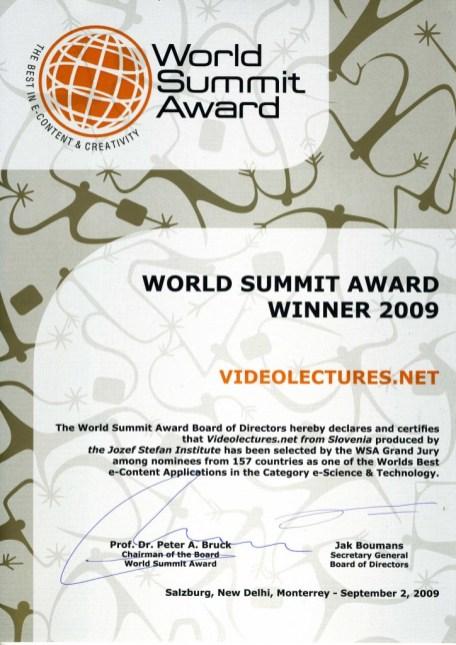 UNESCO Award for VideoLectures.Net, 2009