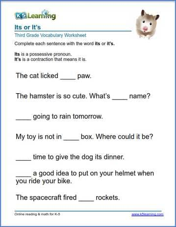 its or it's in sentences worksheets | K5 Learning