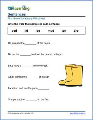 Complete the sentence for grade 1 | K5 Learning