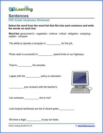 Sentences worksheets for grade 5 | K5 Learning