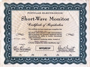 Short-Wave Monitor Certificate