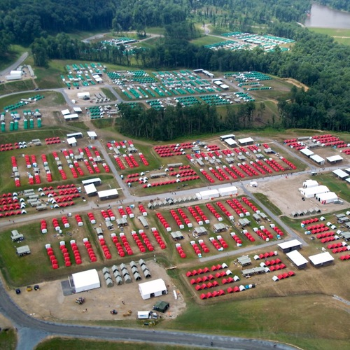 This is an aerial view of Camps A and B. There are three more of these camps for Scouts at the Jamboree.