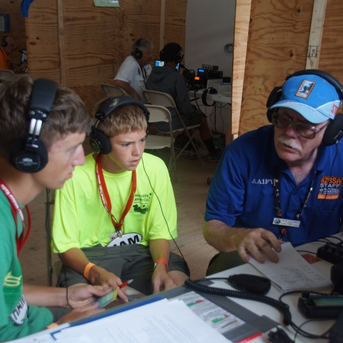These Scouts are from the Radio Merit Badge workshop getting their on air contact in the log.