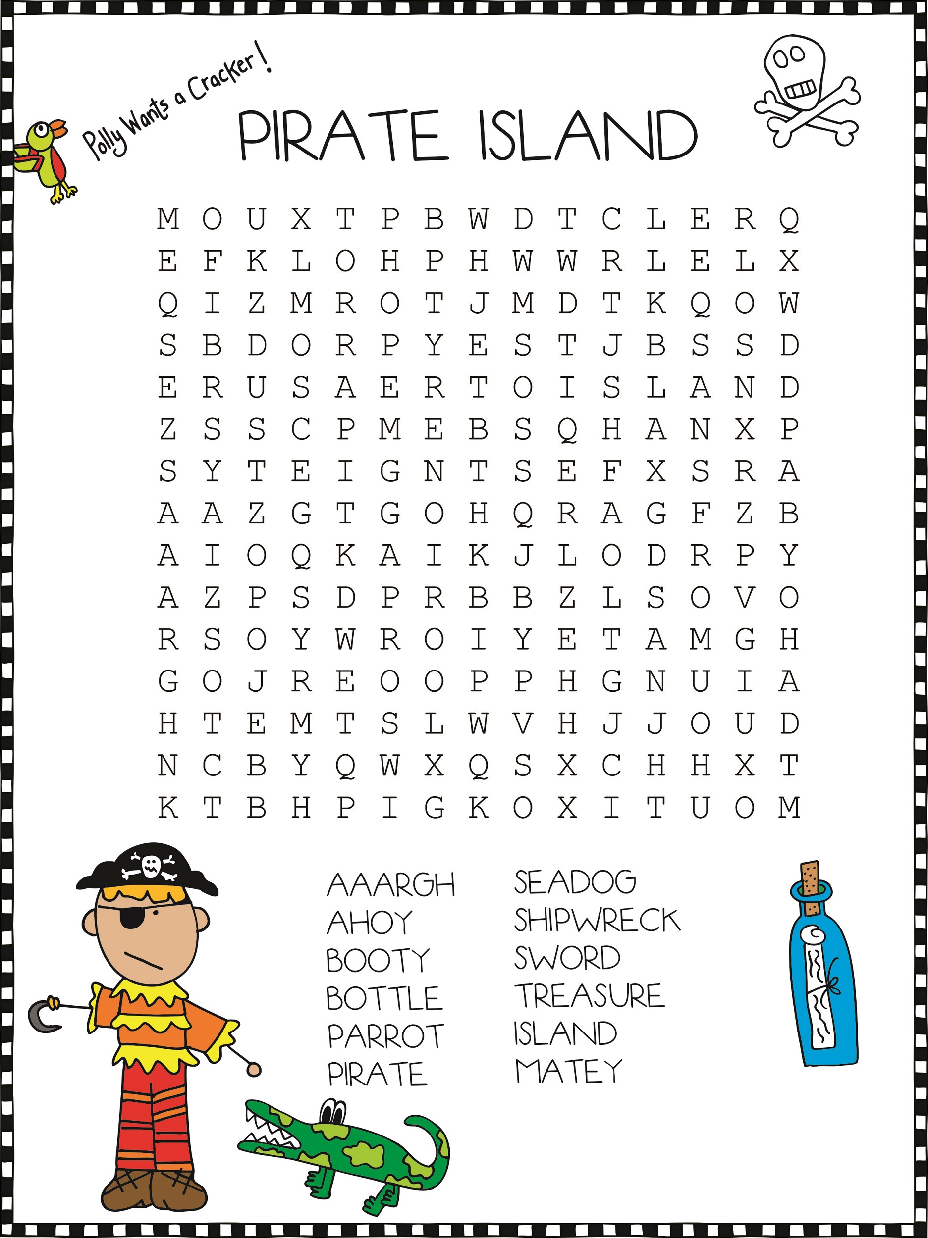 Pirate Word Search Printable