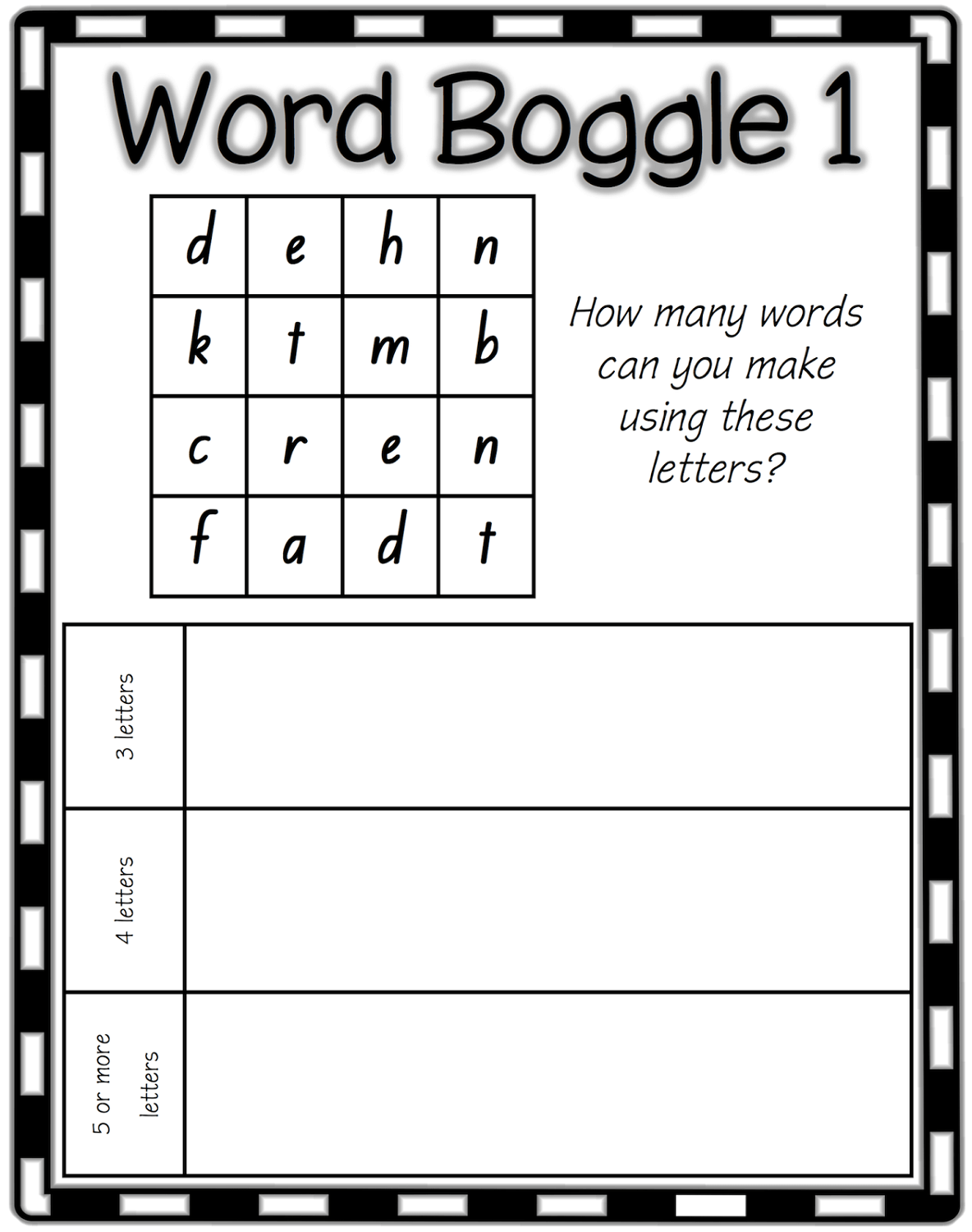 Printable Boggle Word Game