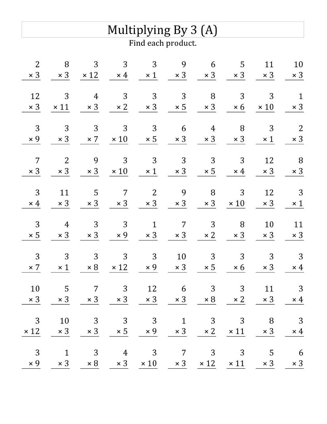 Multiply By 3 Worksheet