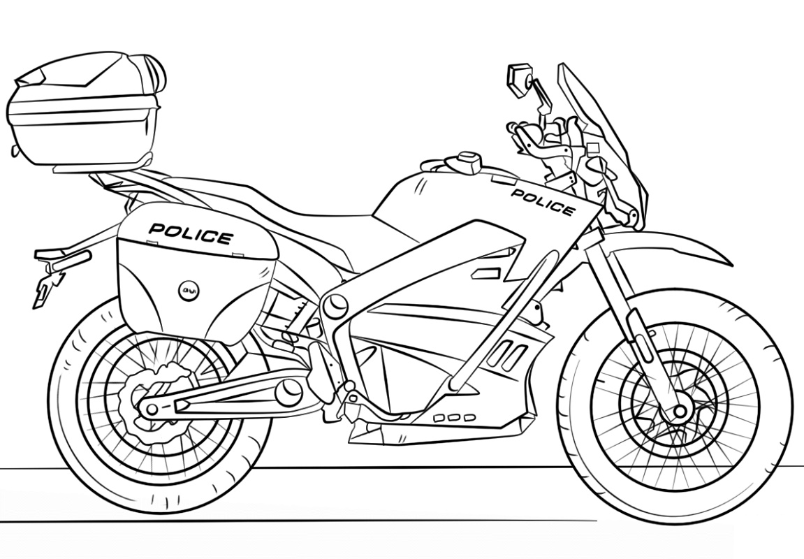Motorcycle Coloring Pages Police