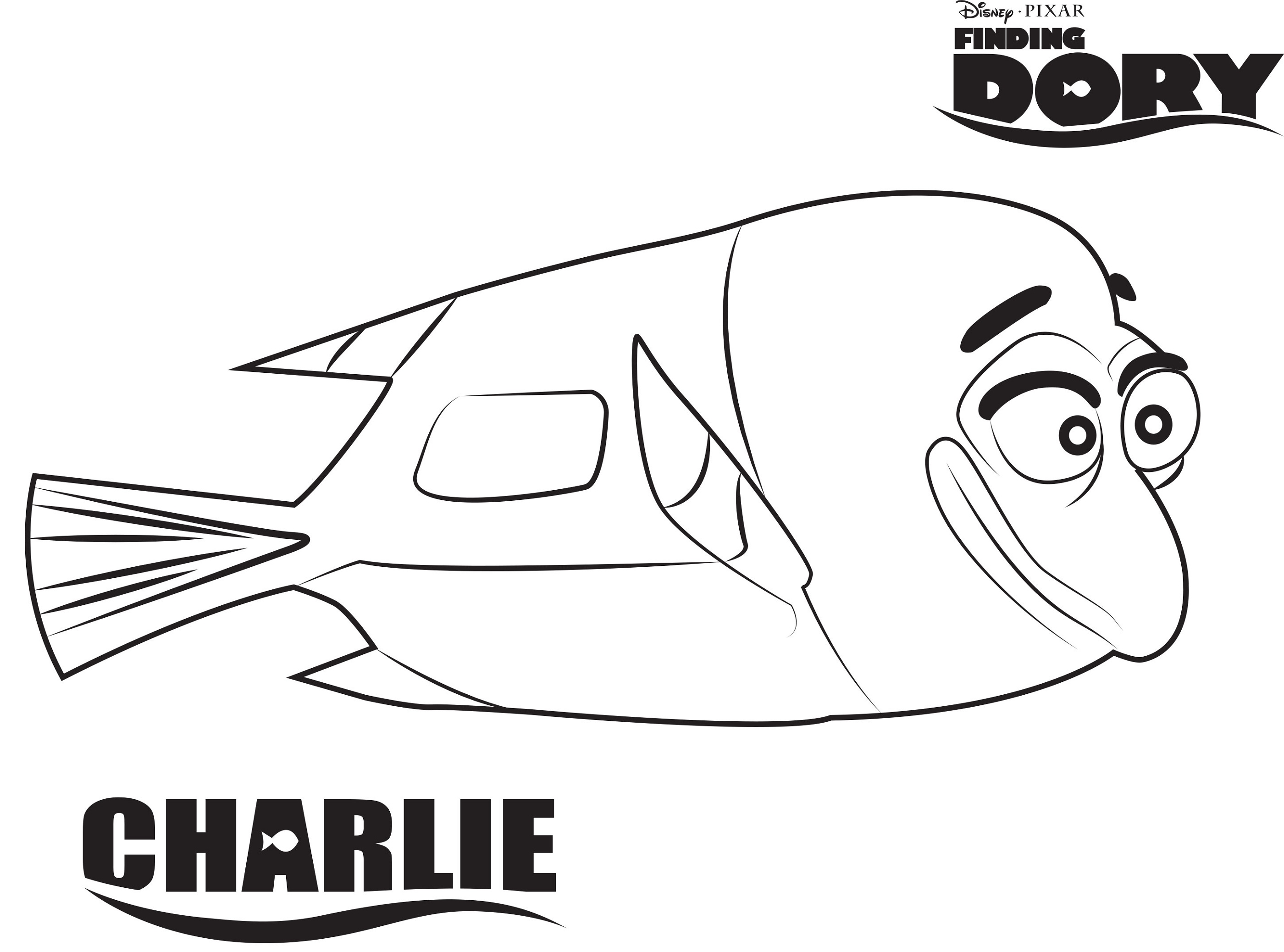 Finding Dory Coloring Pages Charlie K5 Worksheets
