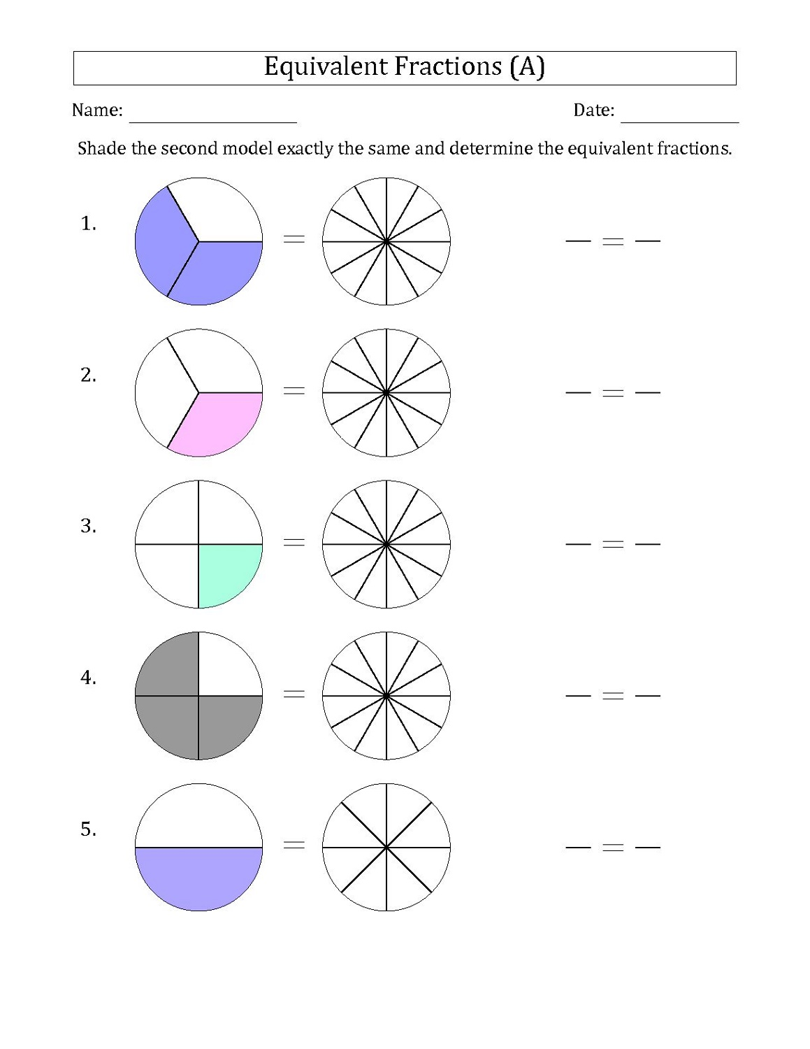 Free Fraction Worksheets Equivalent