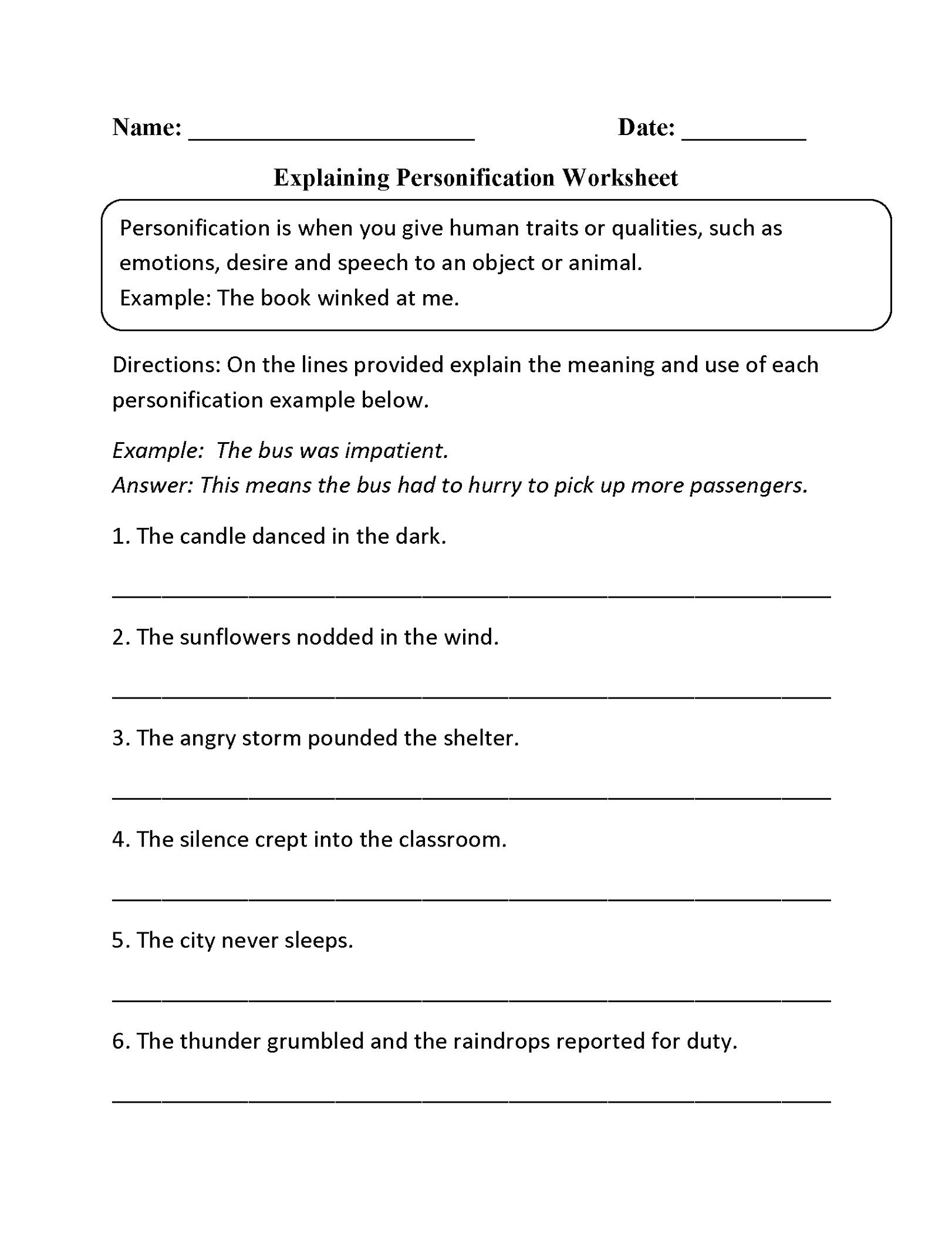 5th Grade Worksheets Personification K5 Worksheets