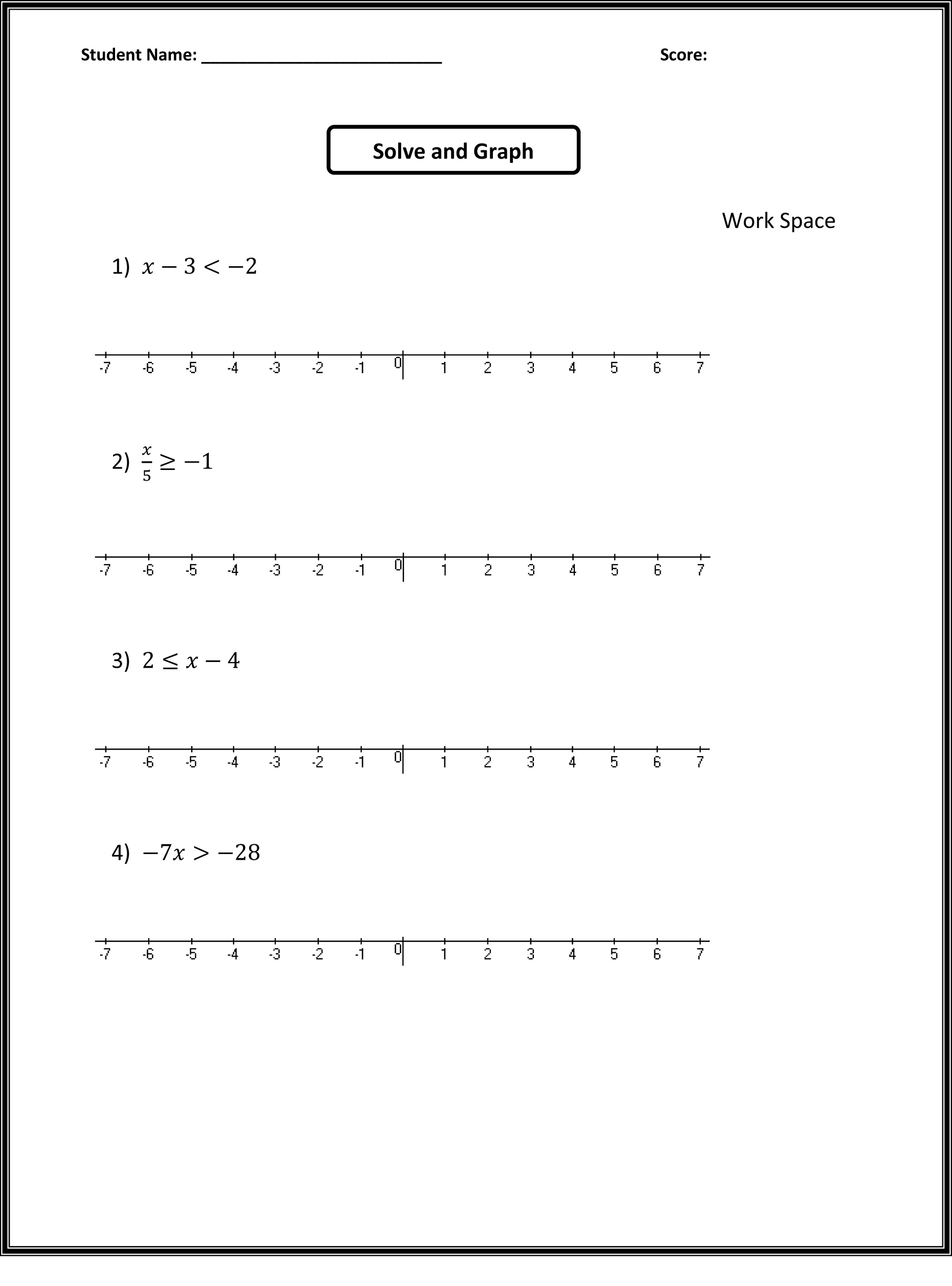 7th Grade Math Worksheets Inequalities