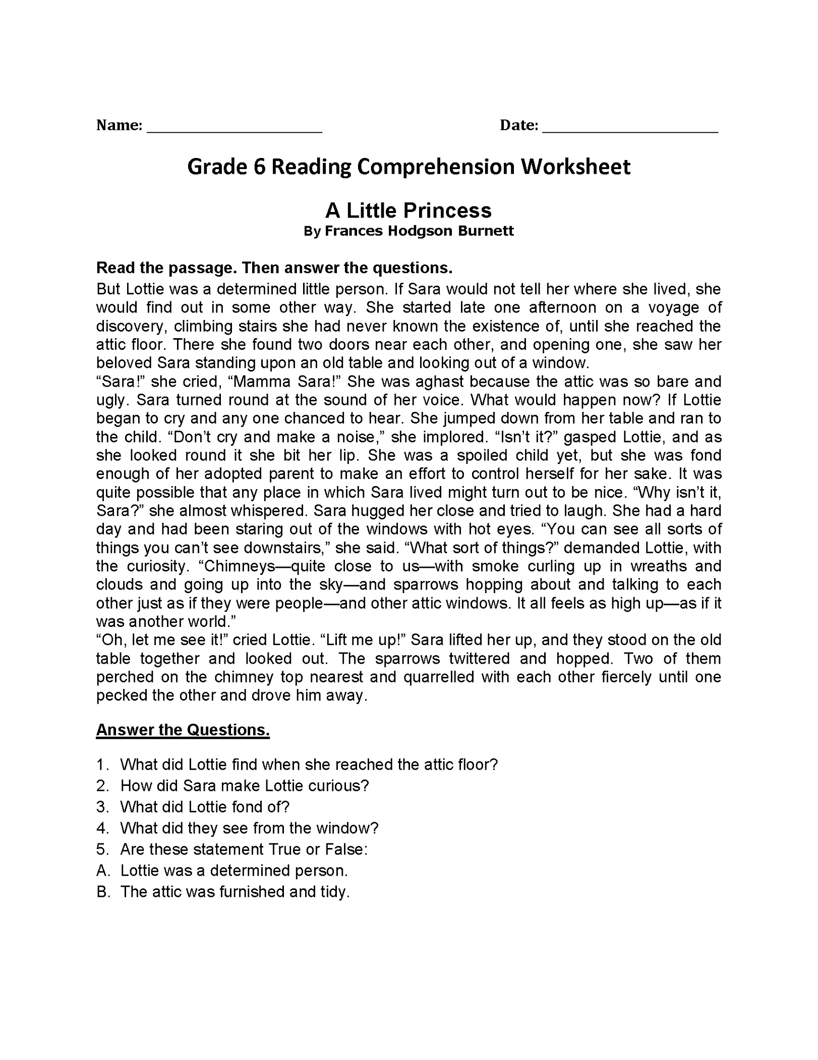 6th Grade Worksheets For Learners