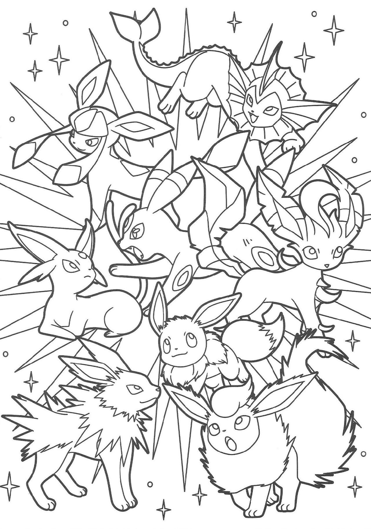 Eeveelutions Coloring Pages For Kids