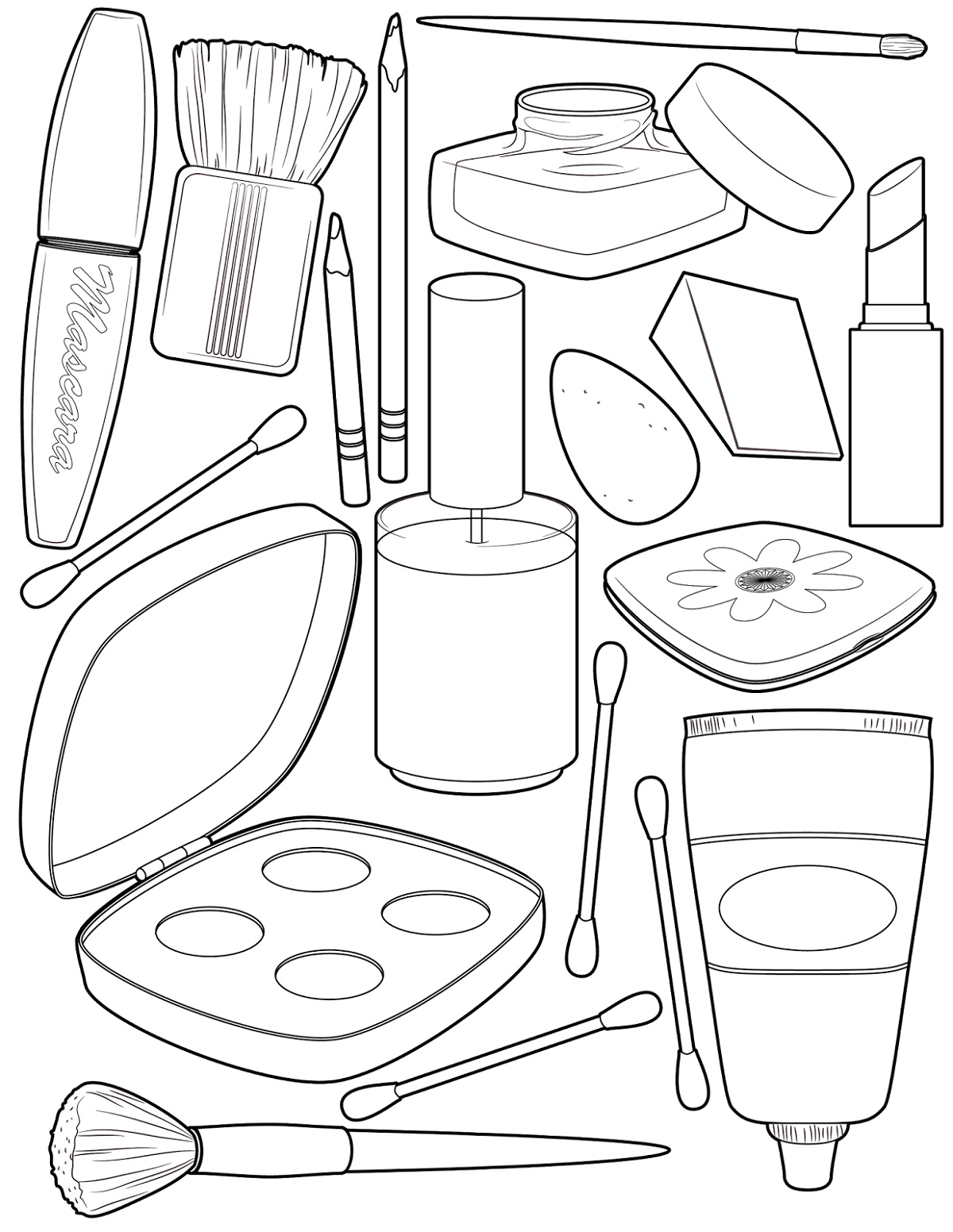 Makeup Tools Coloring Pages Face