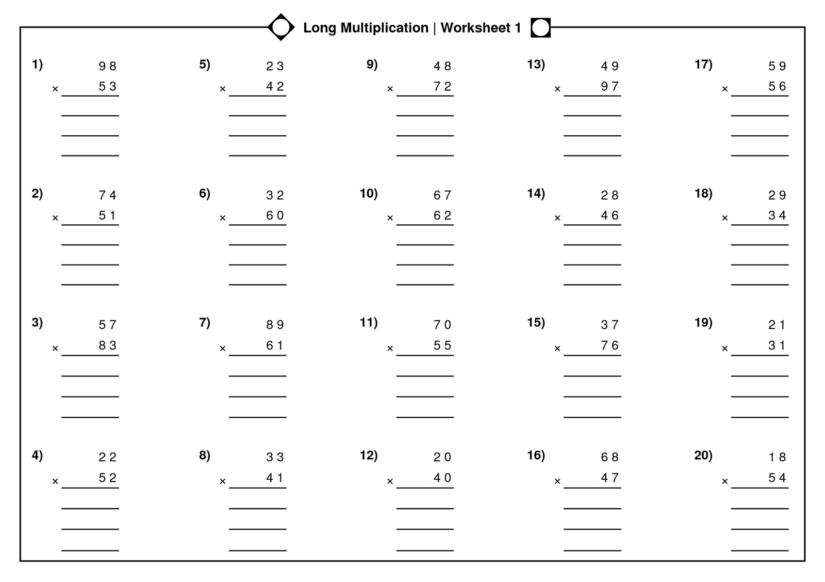 Printable Math Multiplication Worksheets