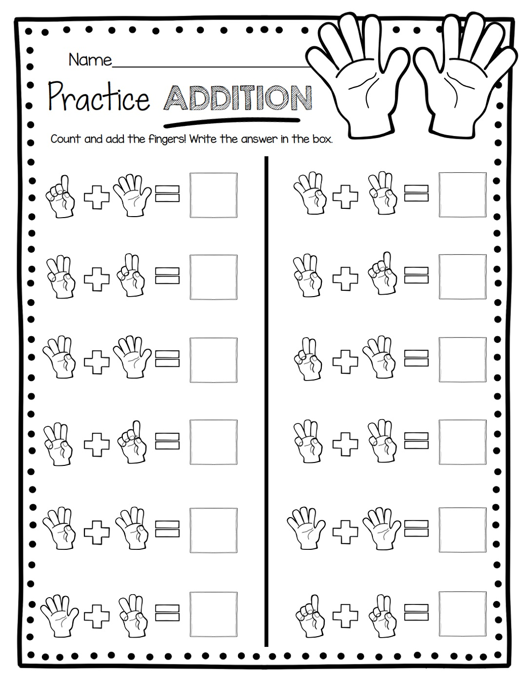 Math Practice Sheets Numbers
