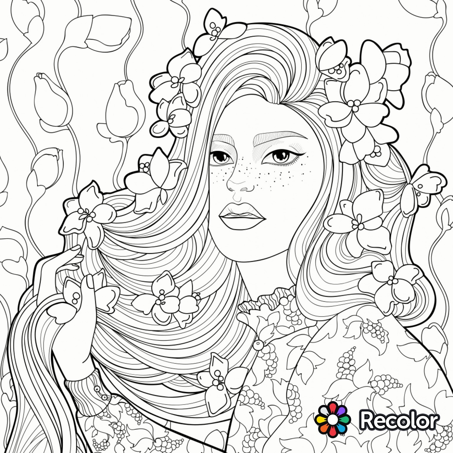 Recolor Coloring Book Beauty Printable