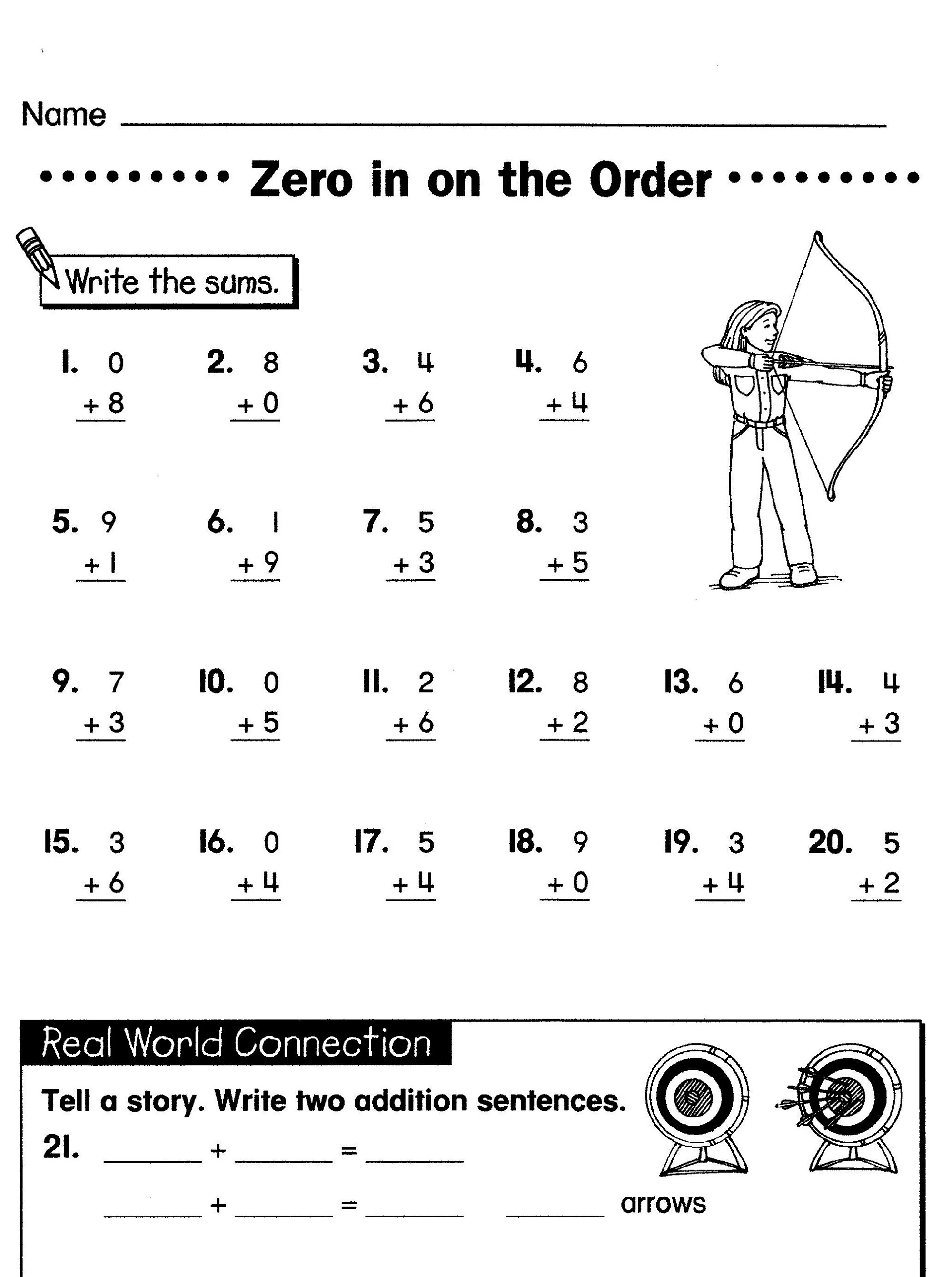 Elementary Math Worksheets Addition