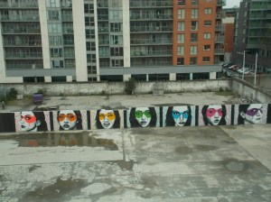 View from our hotel, and well, the intriguing mural. Lots of glass buildings in this part area.