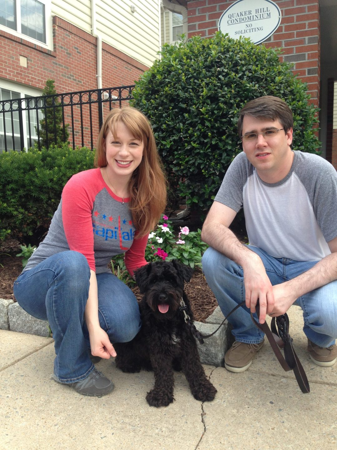 black Schnauzer with owners