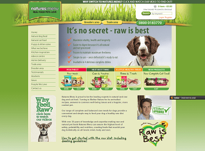 Natures Menu home page