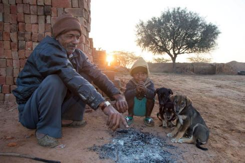 An Indian man and child socialising with puppies