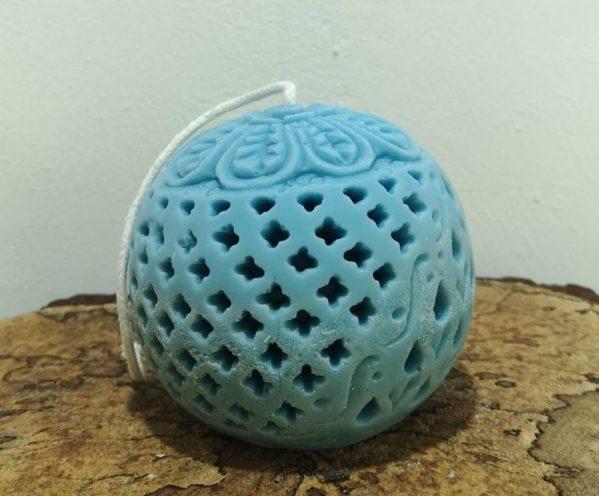 Bolkaars, koolzaadwas, Indische bol, Ø 9 cm x 9 cm, ercolano blauw