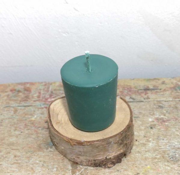 Chakra of votief kaarsje koolzaadwas Ø 3.5 cm x 4 cm, donker groen