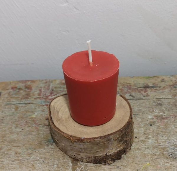 Chakra of votief kaarsje koolzaadwas Ø 3.5 cm x 4 cm, rood