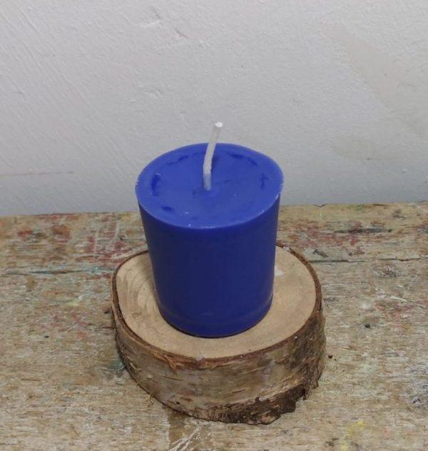Chakra of votief kaarsje koolzaadwas Ø 3.5 cm x 4 cm, ultramarijn blauw