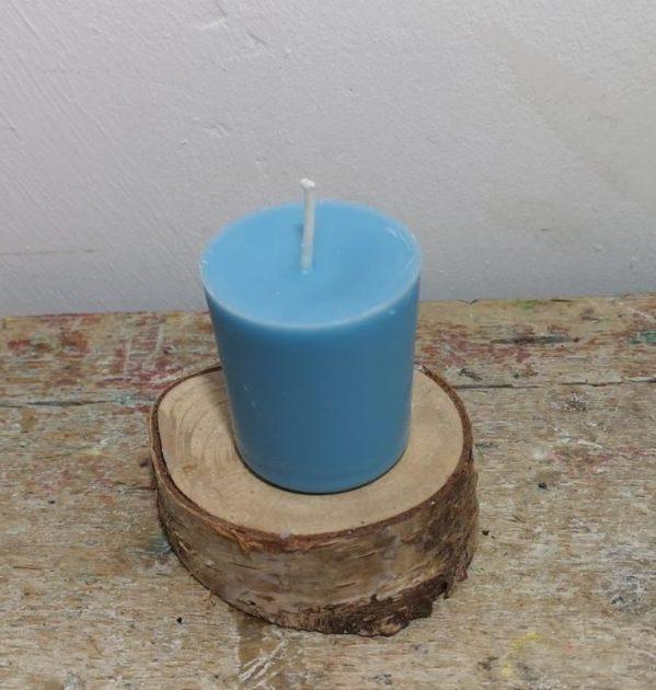 Chakra of votief kaarsje koolzaadwas Ø 3.5 cm x 4 cm, ercolono blauw