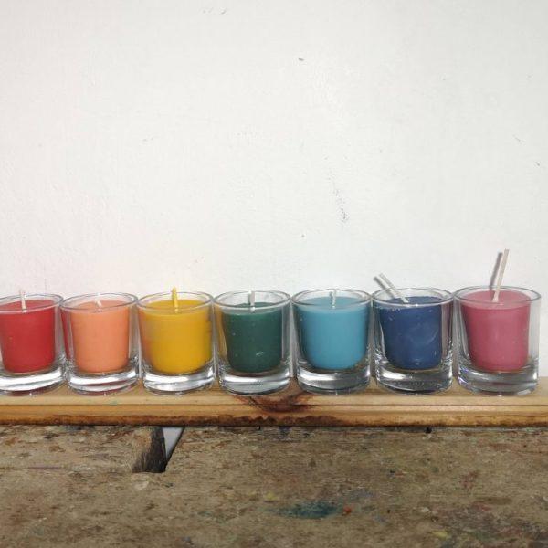 Chakra kaarsjes, set, 7 kleuren