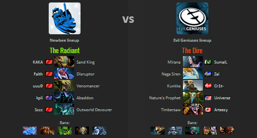 Game Pertama Playoff The International 7 Newbee VS Evil Geniuses