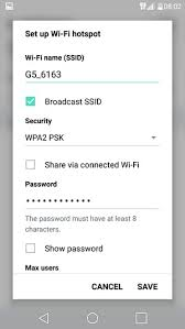 Pengaturan Password Hotspot WiFi LG G5